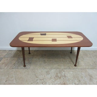 Mid Century Danish Dark Mahogany Inlaid Space Age Coffee Table Preview