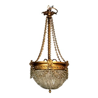 Empire Style Crystal and Golden Brass Montgolfier Chandelier, France For Sale