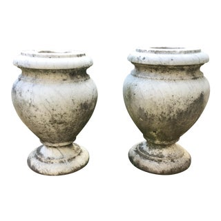 Pair of Carved marble urns
