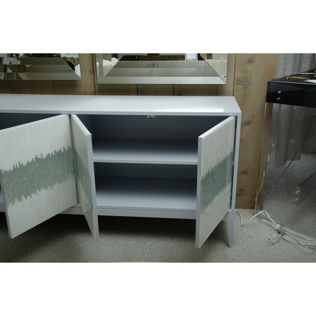 Blue Contemporary Mosaic Glass 4 Door Buffet For Sale - Image 8 of 10