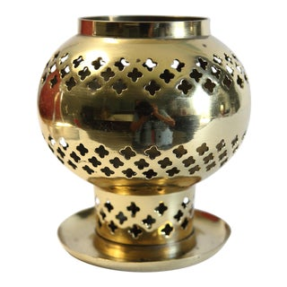 1980s Moroccan Brass Candle Holder For Sale