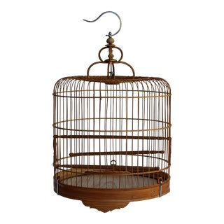Chinese Oriental Round Shape Bamboo Wood Birdcage Display