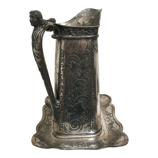 Late 19th Century Antique James Tufts Silver Plate Pitcher & Tray For Sale
