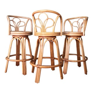 Vintage Rattan Bentwood Bar Stools - Set of 3 For Sale
