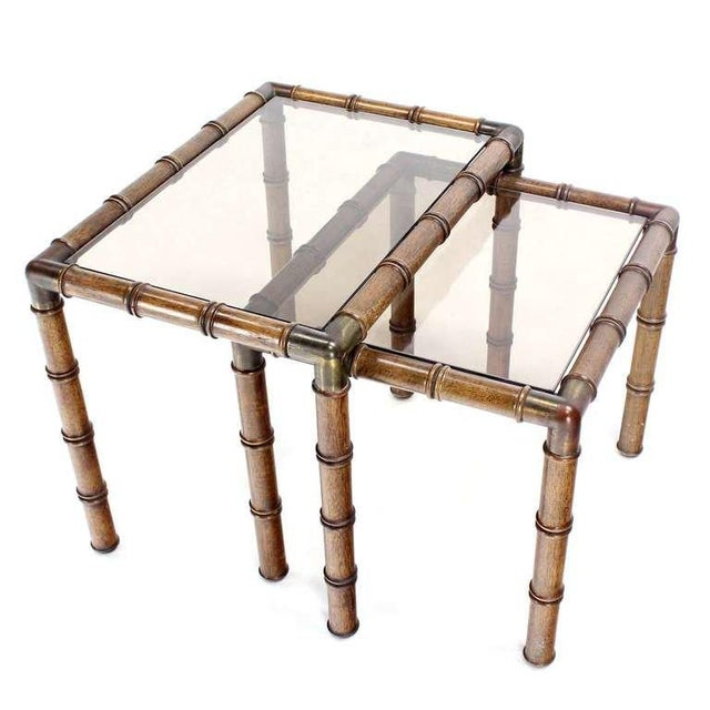 Brown Mid Century Modern Faux Bamboo Nesting Stacking End Tables- a Pair For Sale - Image 8 of 10