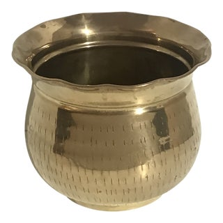 1980s VintageScalloped Rim Brass Planter For Sale