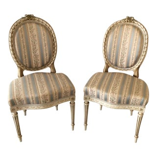 19th Century Louis XVI Giltwood Side Chairs - a Pair For Sale