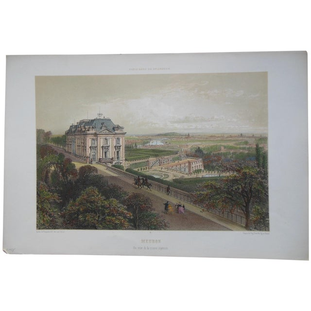 Antique Folio Size Lithograph View of Paris For Sale
