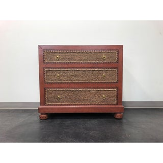 Maitland Smith Tooled Leather & Grass Cloth Bachelor Chest Preview