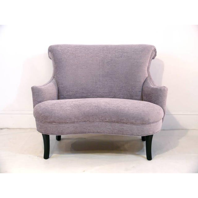 1940s Vintage Petite Scroll Armed Settee For Sale - Image 11 of 11