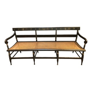 Vintage Mid Century Black Gold Caned Bench For Sale
