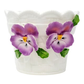 Ceramic Basket and Pansies Planter by Jay Willfred