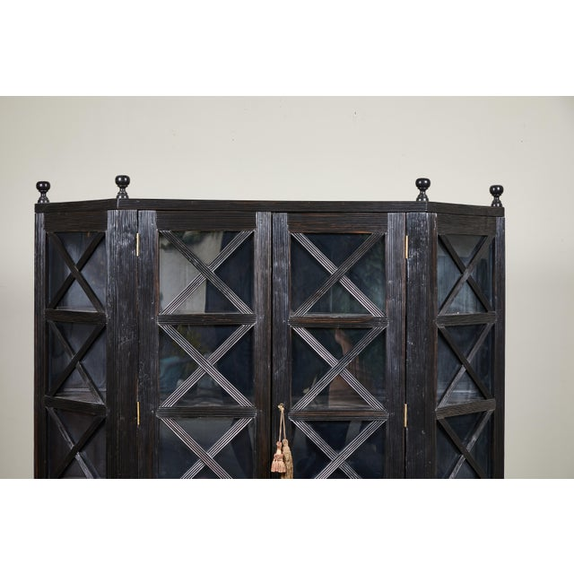 Wood 20th C. Ebony British Colonial 2-Door Display Cabinet For Sale - Image 7 of 11