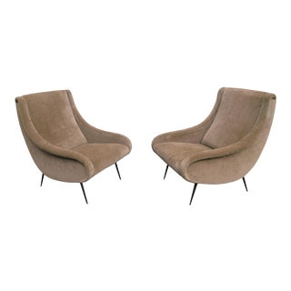 1950s Art Deco Reupholstered Taffy Cotton Velvet Armchairs - a Pair For Sale