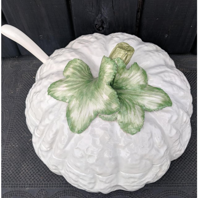 Vintage Italian Majolica White Pumpkin Tureen Dish With Ladle For Sale - Image 9 of 11