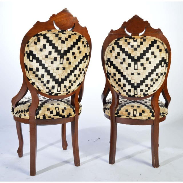 Victorian Parlor Chairs Having Carved Mahogany Frames With Art Deco Upholstery For Sale In Philadelphia - Image 6 of 8
