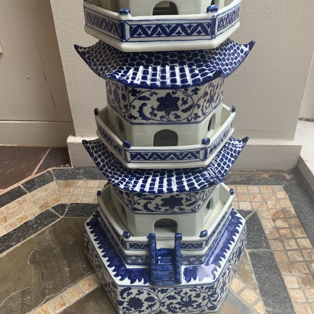 Chinese Pagoda Ceramic Statue For Sale In Houston - Image 6 of 13