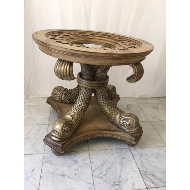 Transitional Neo Classical Gold Silver Gilt Dolphin Dining Table - Image 3 of 7