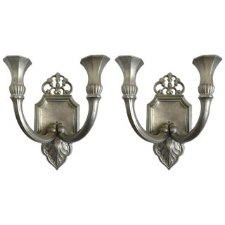 Just Andersen Pewter Candle Sconces - A Pair For Sale