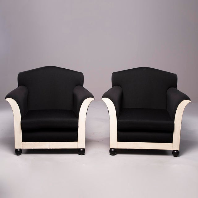 French Art Deco Vellum Edged Club Chairs - a Pair For Sale - Image 12 of 12