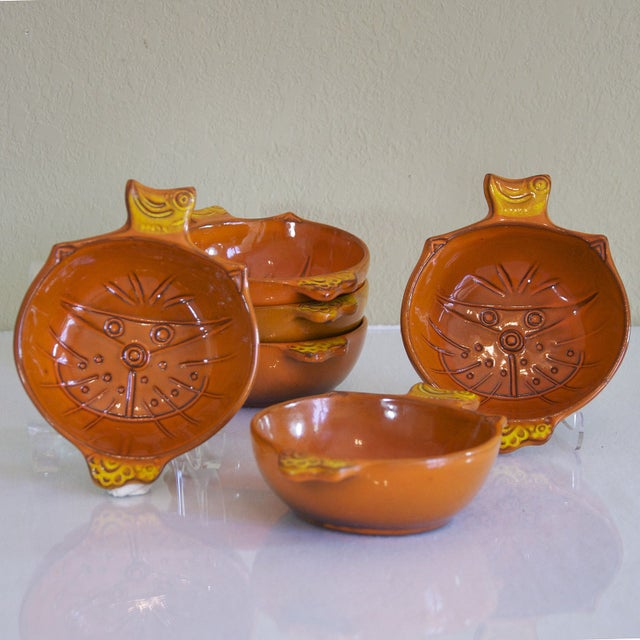 Vintage Orange Kitty Face Pottery Bowls - Set of 6 - Image 2 of 5