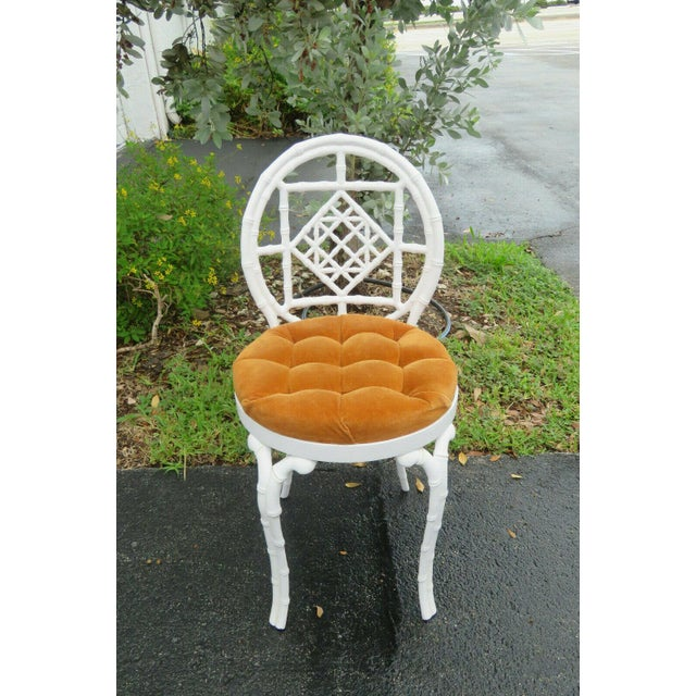 1970s Vintage Hollywood Regency Painted Iron Faux Bamboo Side Chair Stool by Kessler For Sale - Image 10 of 13