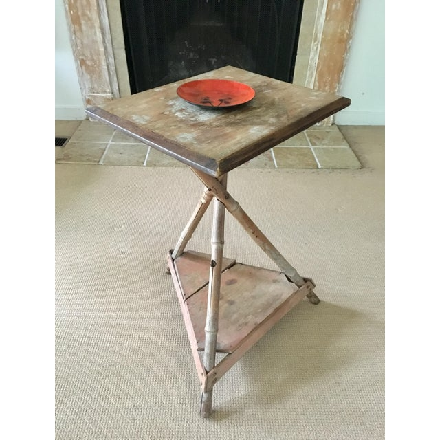 Cottage Bamboo Wood Side Table For Sale - Image 3 of 6