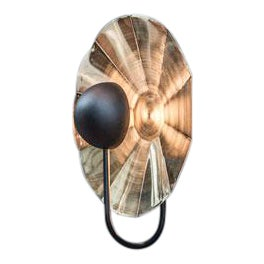 """Large Reflector Wall Light in Brushed Brass With Satin Black (19.7"""") For Sale"""