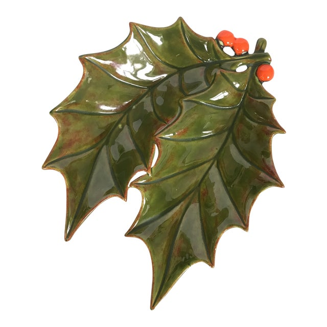 1960's Glazed Ceramic Holly Leaf Candy Dish For Sale