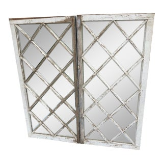 Pair of Antique Farm House Shabby Chic Mirrored Windows For Sale