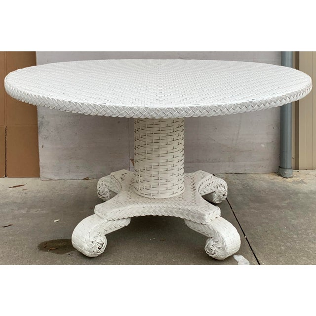 White Large Round Wicker Pedestal Dining Table For Sale - Image 8 of 8