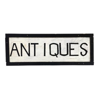 """""""Antiques"""" Hand Painted Wood Sign"""