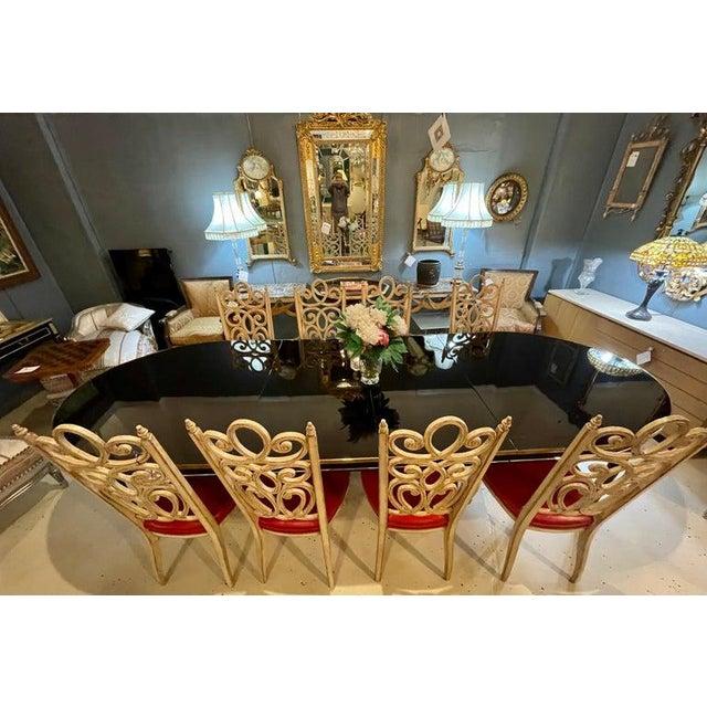Maison Jansen Ebony Dining Table, Louis XVI Style W Bronze Mounts & Three Leaves For Sale - Image 9 of 13