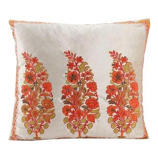 Boho Chic Velvet Floral Embroidered Ivory Orange Pillow For Sale