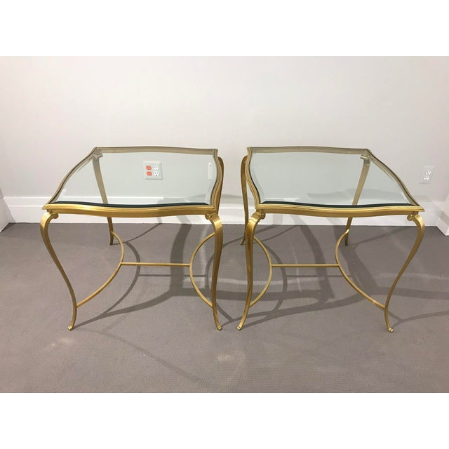Hollywood Regency Brass and Glass Henredon Side Tables - a Pair For Sale - Image 13 of 13