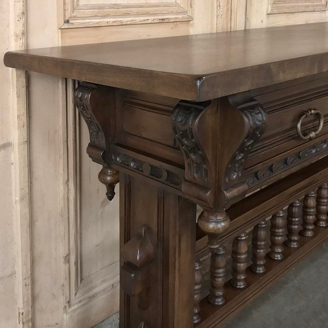 Mid 20th Century Antique Spanish Renaissance Walnut Hall Table ~ Console For Sale - Image 5 of 12