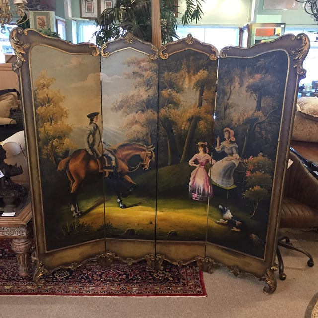 Gorgeous room divider. Front has beautiful golden scroll work surrounding an exquisitely hand painted colonial scene. Back...