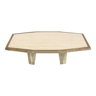 1970s Modern Travertine and Marble Tow-Tone Boat Shape Coffee Table For Sale