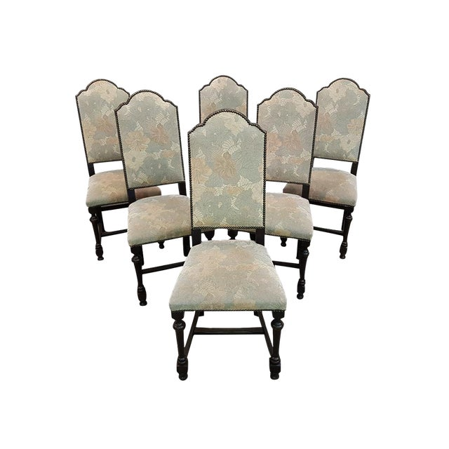 1cc5b8aa9cc06 Set of Six French Vintage Arch-Top High Back Oak Dining Chairs For Sale