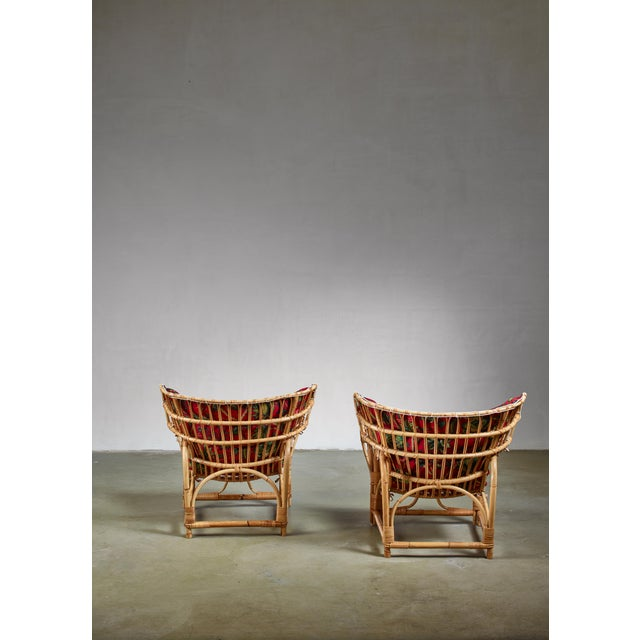 1940s Pair of Bamboo and Rattan Lounge Chairs, Sweden, 1940s For Sale - Image 5 of 8