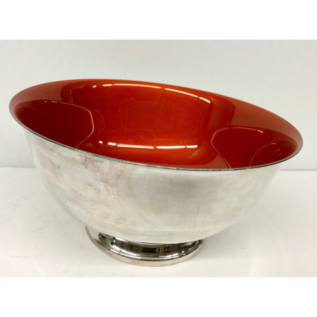 1960s Contemporary Revere Reed & Barton Silverplate Cinnabar Red Enamel Bowl For Sale - Image 5 of 10