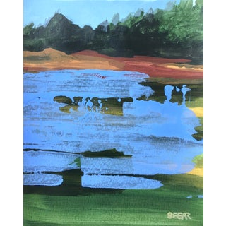 "Contemporary Landscape ""Lake Color Study I"" Painting by Angela Seear, Small For Sale"