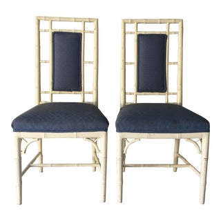 Vintage Cottage Faux-Bamboo High-Back Side Chairs - A Pair For Sale