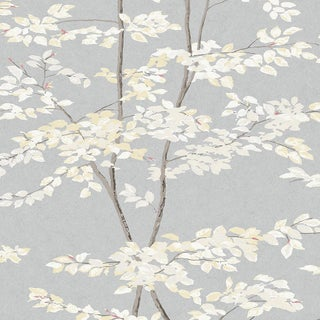 Lewis & Wood Beech Dove Botanic Style Wallpaper Sample For Sale
