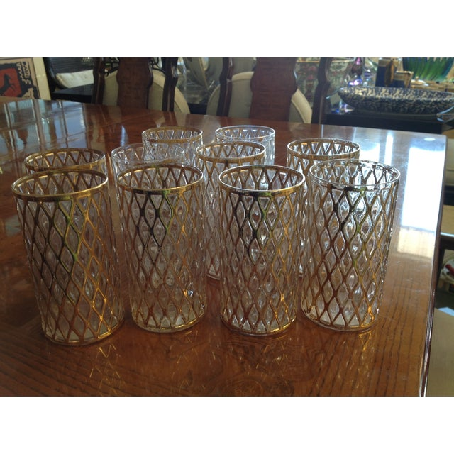 Mid-Century Gold Drinking Tumbler Glasses - S/10 - Image 2 of 7