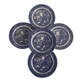 Antique Blue Willow Plates - Set of 5 For Sale