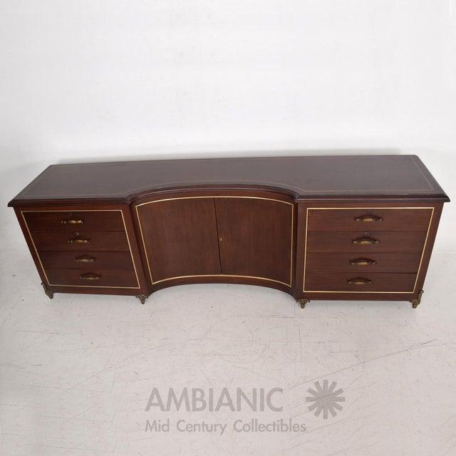 Gold Mexican Modernist Mahogany and Bronze Credenza Dresser Attributed Arturo Pani For Sale - Image 8 of 10
