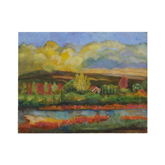 Vibrant autumn landscape of Monterey County, circa 1980, by unknown artist. Unsigned. Unframed.