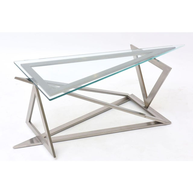 Silver Italian Modern Stainless Steel and Glass Table Attributed to Giovanni Offredi For Sale - Image 8 of 10