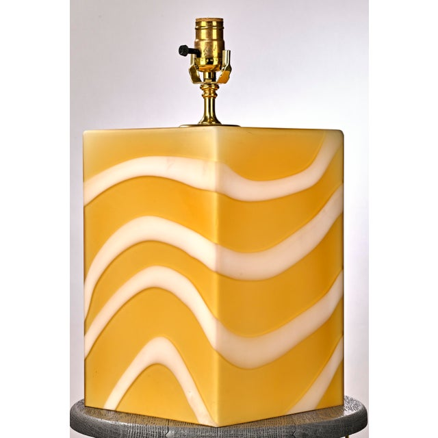 Mid 20th Century Mid-Century Modern Murano Glass Yellow and White Cube Table Lamp For Sale - Image 5 of 6